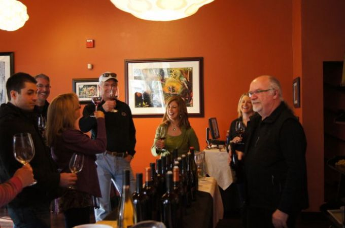 Winemaker, Karl Dinger, and friends